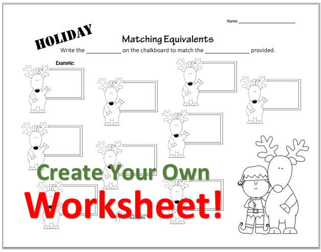Create Your Own Worksheets : Create your own holiday number matching worksheet