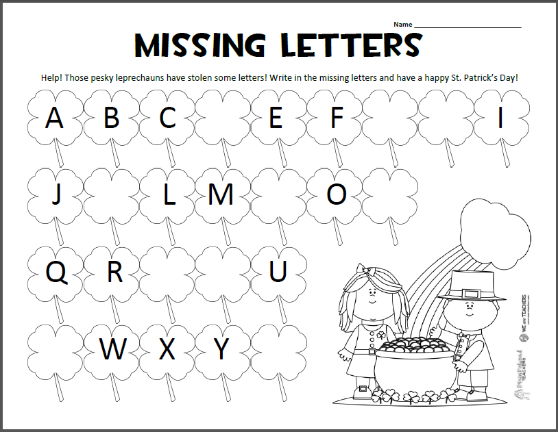 Missing Letters – St. Patrick's Day ABC Worksheet | Squarehead Teachers