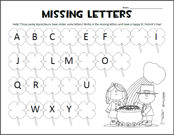 Missing Letters u2013 St. Patricku2019s Day ABC Worksheet : Squarehead Teachers