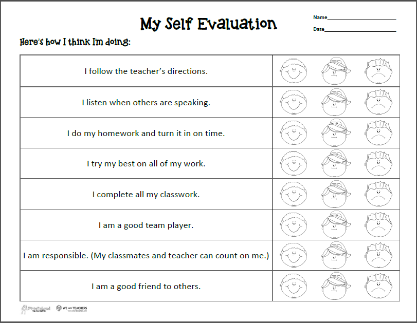 Essay self evaluation sheet