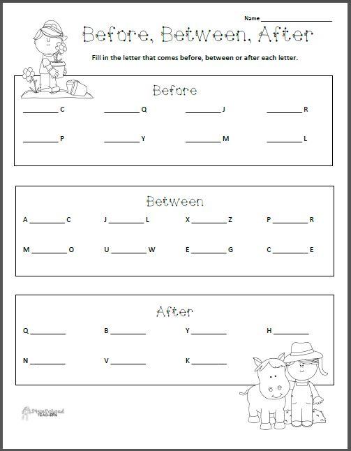 math worksheet : before between after  letters worksheet  squarehead teachers : Before And After Worksheets For Kindergarten