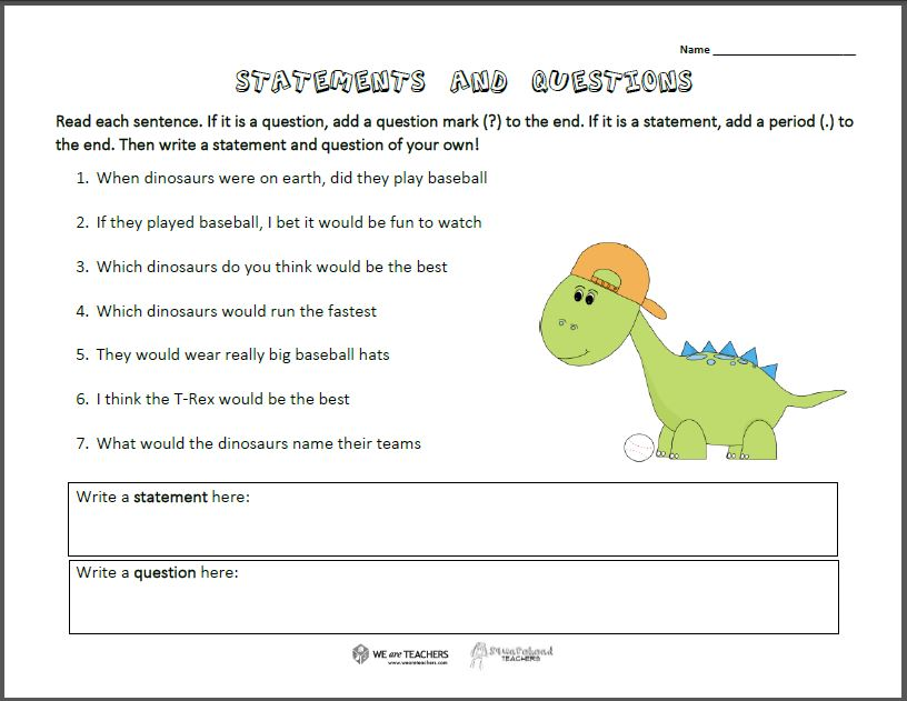 Statements Questions Worksheet – Why Questions Worksheet