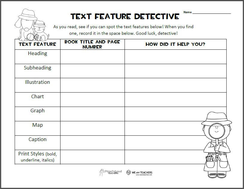 Text Features Graphic Organizer | Squarehead Teachers
