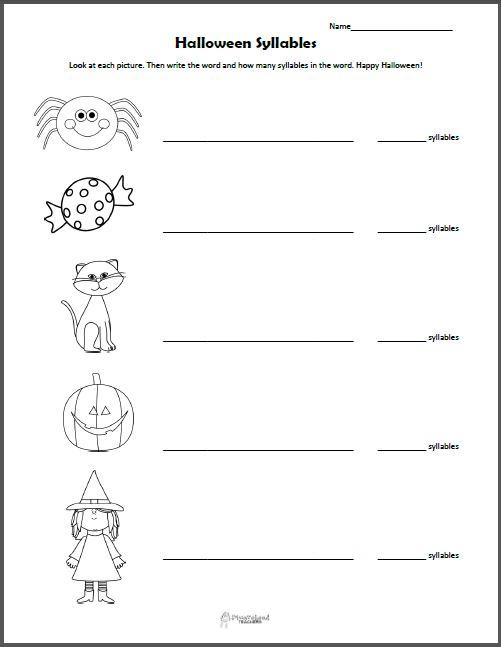 Halloween Syllables Worksheet – Syllables Worksheets