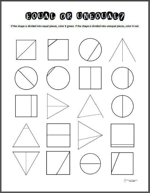 equal or unequal parts math printable squarehead teachers. Black Bedroom Furniture Sets. Home Design Ideas