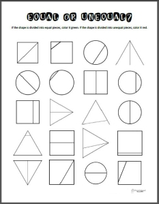 Equal or Unequal Parts – Math Printable | Squarehead Teachers
